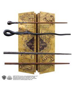 Expositor Mapa del Merodeador con varitas de los Merodeadores - Harry Potter