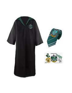 Pack disfraz Slytherin: Túnica + Corbata + 5 tatuajes - Harry Potter
