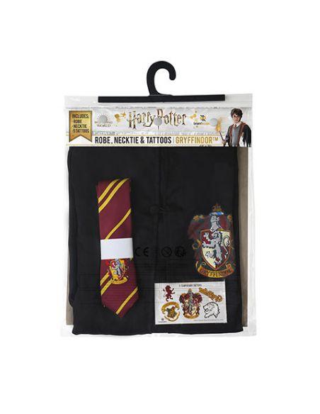 Pack disfraz Gryffindor: Túnica + Corbata + 5 tatuajes - Harry Potter
