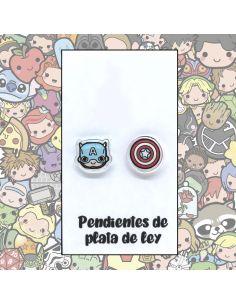 Pendientes Plata - Héroe Americano y Escudo - Joyería Artesanal