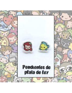 Pendientes Plata - Sirenita y Pececito - Joyería Artesanal