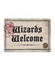 Placa Metálica Wizards Welcome - Harry Potter