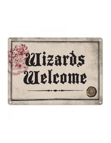 Placa Metálica Wizards Welcome - Harry Potter
