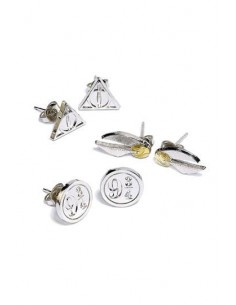 Pack de 3 Pendientes Snitch, Reliquias y Andén - Harry Potter