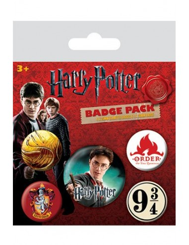 Pack 5 Chapas Gryffindor y Snitch Dorada - Harry Potter