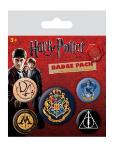 Pack 5 Chapas Hogwarts y Ravenclaw - Harry Potter