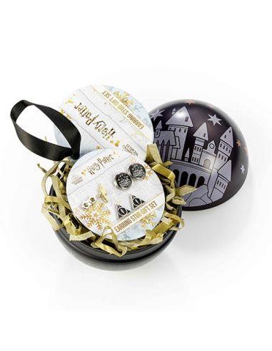 Bola de Navidad Hogwarts con Pendientes Iconos - Harry Potter