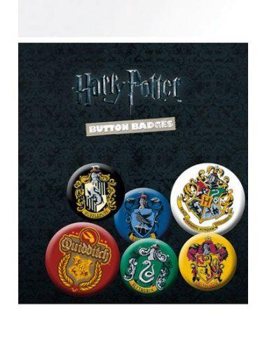 Pack 6 Chapas Escudos - Harry Potter