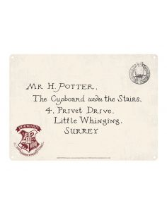 Placa Metálica Carta Hogwarts - Harry Potter