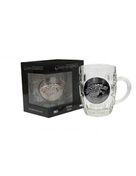 Jarra de Cerveza vidrio y metal Casa Stark - Juego de Tronos