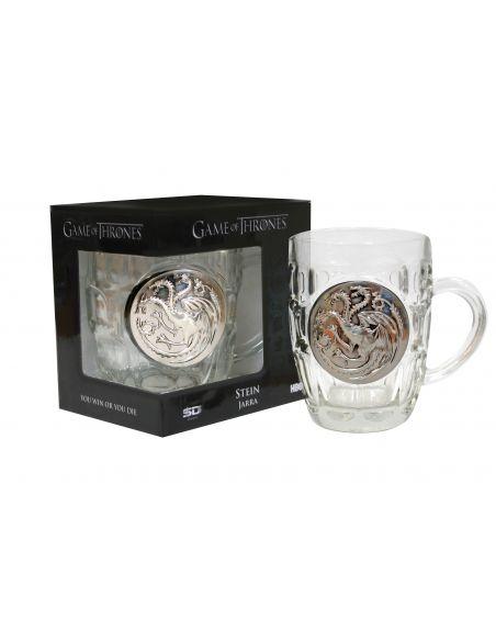Jarra de Cerveza vidrio y metal Casa Targaryen - Juego de Tronos