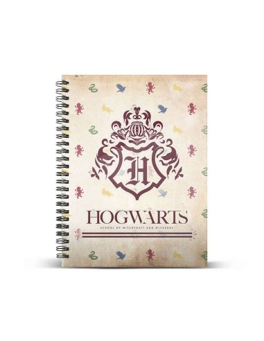 Libreta Escudo Hogwarts Anillas Harry Potter